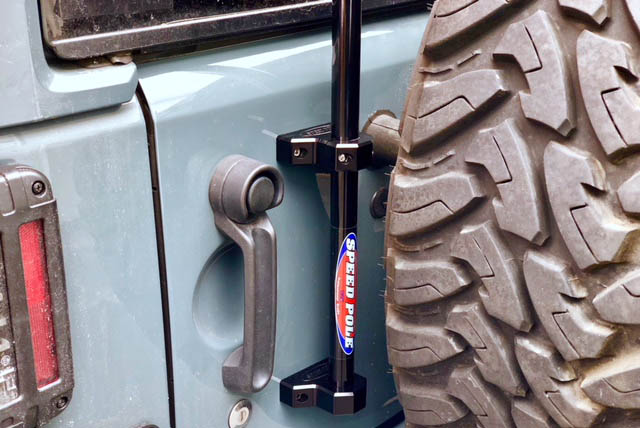 Pole Mounted on Back of Jeep